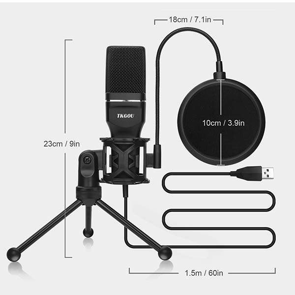 Tkgou USB Condenser Microphone with Pop Filter