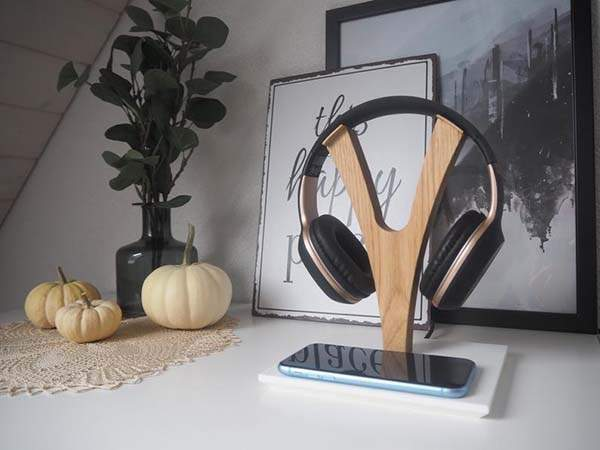 YPod Handmade Headphone Stand with Wireless Charging Pad
