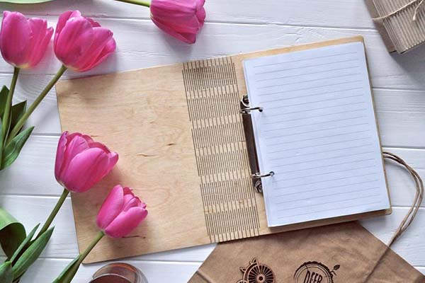 Handmade Heart Personalized Wooden Notebook with Optional Organizer