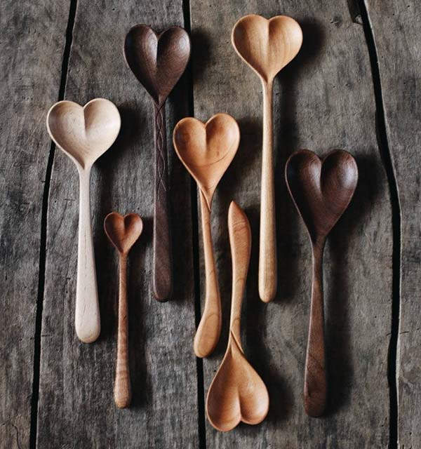 Handmade Heart Shaped Wooden Spoons