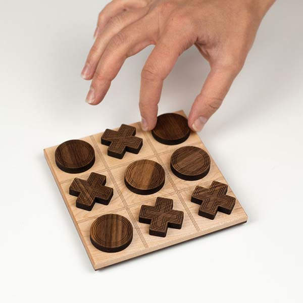 Handmade Portable Wooden Tic-Tac-Toe Board Game