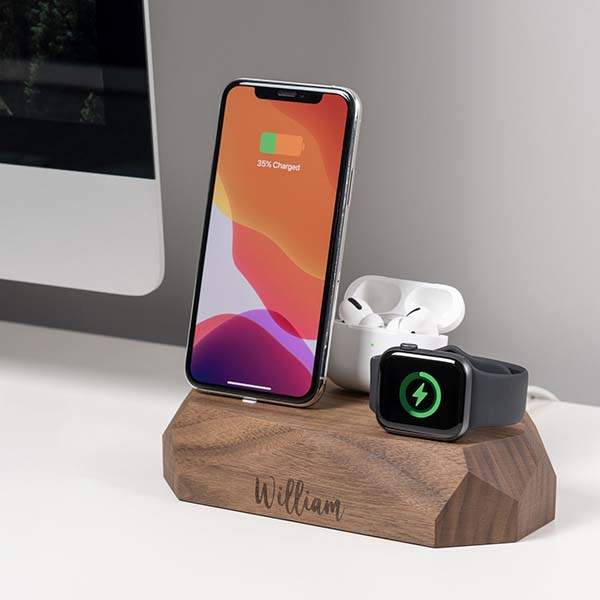 Handmade Triple Personalized Wooden Charging Station