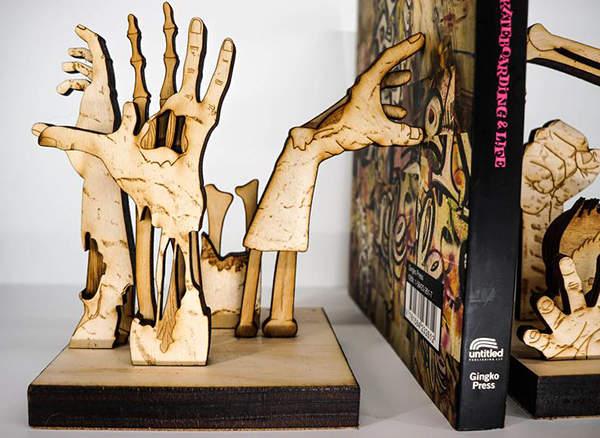 Handmade Zombie Wooden Bookends