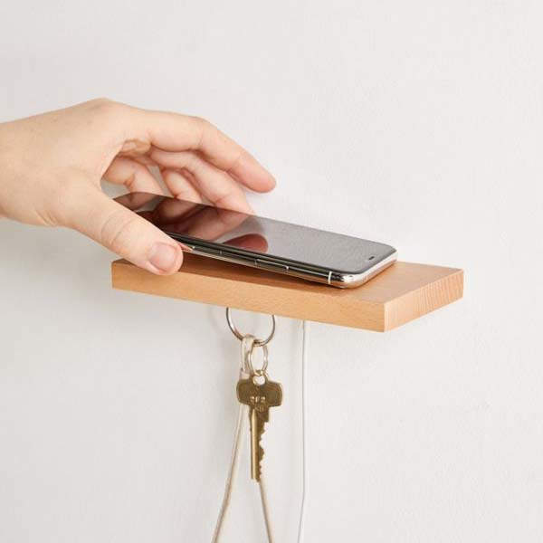 ILoveHandles Plank Power Mini Wall Shelf with Wireless Charging Pad