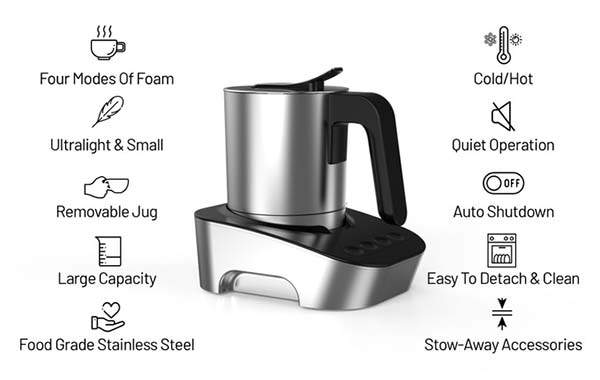 MCJOY Compact Cold/ Hot Milk Foamer