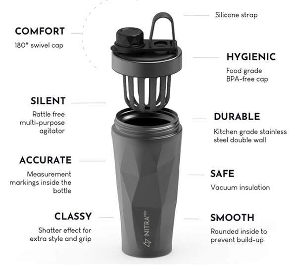 NitraPro Smell-Free Stainless Steel Protein Shaker Bottle
