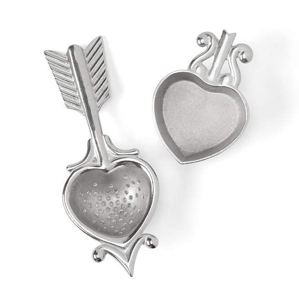 Vintage Inspired Heart Pewter Tea Strainer and Rest