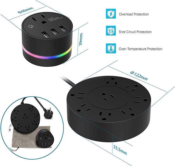 Yostyle Surge Protector with a Detachable USB Wall Charger