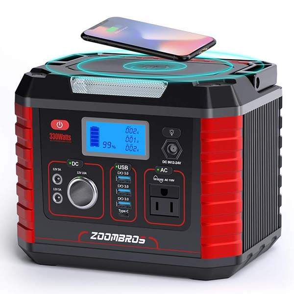 Zoombros 330W Portable Power Station Generator with Wireless Charger and LED Flashlight