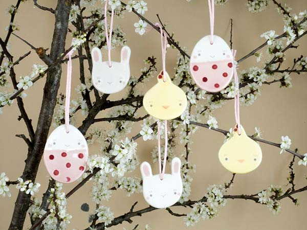 Handmade Ceramic Easter Hanging Decorations