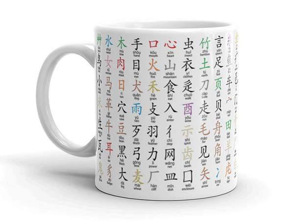 Handmade Chinese Radicals Ceramic Mug with Color Mnemonics