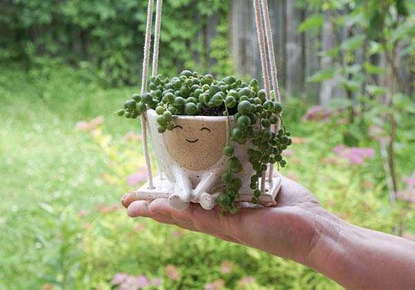 Handmade Hanging Planter Maya on a Swing