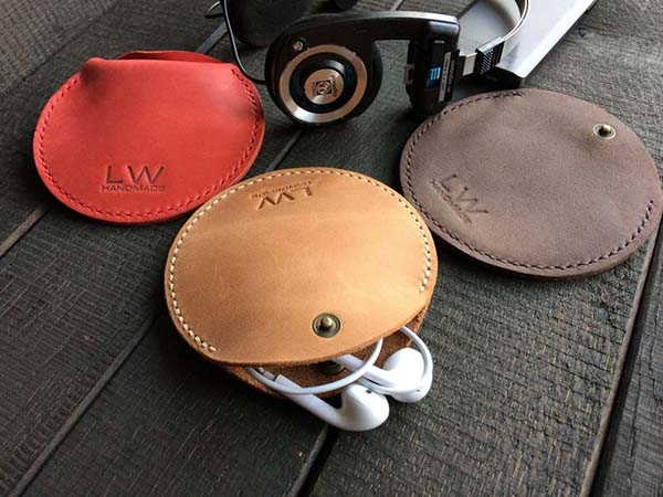Handmade Personalized Leather Cable Organizer for Charging Cable and Earbuds