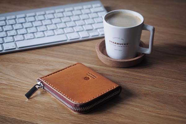 Handmade Personalized Leather Wallet with Zipper Closure