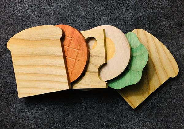 Handmade Sandwich Wooden Drink Coasters