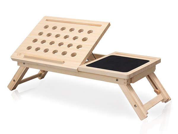 Handmade Wooden Laptop Desk with Mouse Pad, Phone Holder and More