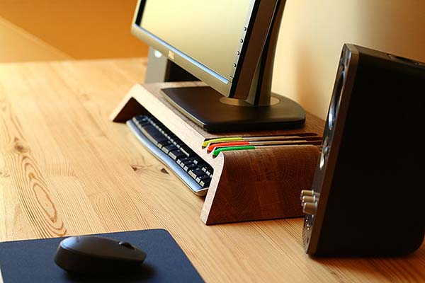 Handmade Wooden Monitor Stand with Pen Holder