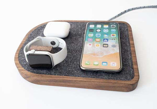 Handmade Wooden Wireless Charging Station for iPhone, Apple Watch and AirPods