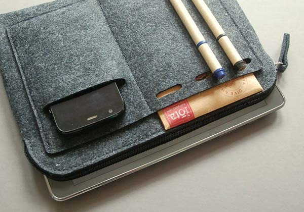 Handmade Zippered iPad Sleeve with Multiple Pockets