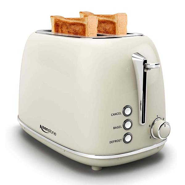 Keenstone 2-Slice Retro Stainless Steel Toaster with 6 Bread Shade Settings