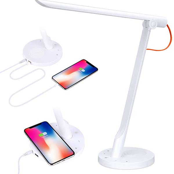 Krtotai Smart LED Desk Lamp with Wireless Charger Supports Amazon Alexa and Goggle Home