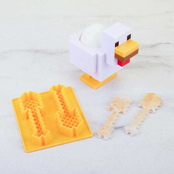 Minecraft Pixelated Chicken Egg Cup and Toast Cutter