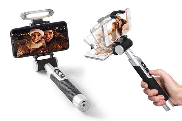 Pictar Smart-Light Motorized Selfie Stick with Detachable LED Headlight