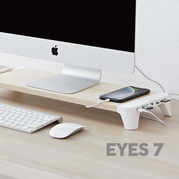 Pout Eyes7 Wooden Monitor Stand with USB Hub