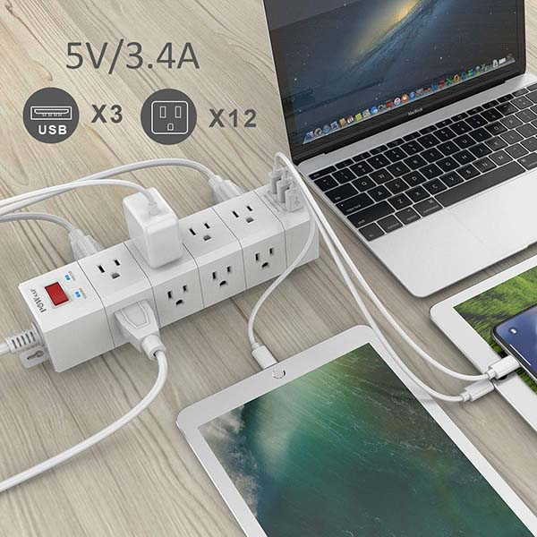 Powersaf Surge Protector with 3-Sided Design