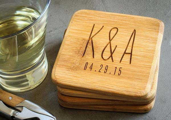 The Handmade Bamboo Coaster Set with Optional Personalization