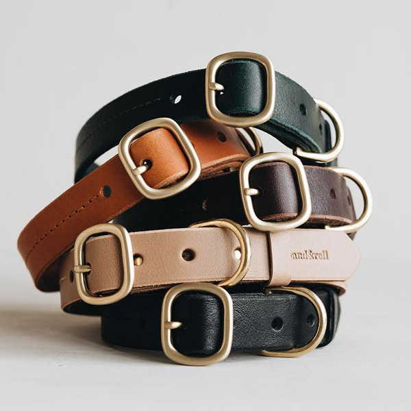 The Handmade Leather Dog Collar with Personalized Option