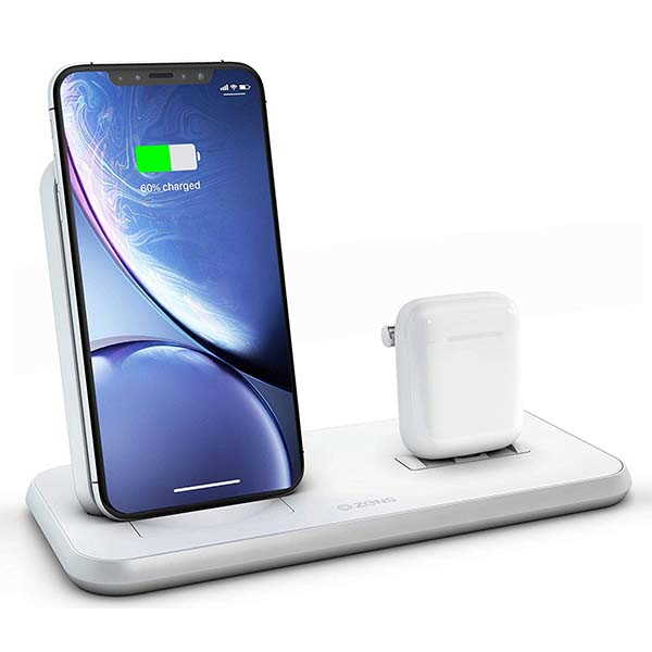 ZENS Stand+Dock 3-In-1 Aluminum Wireless Charging Station