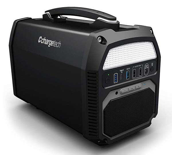 ChargeTech Portable Power Station with Bluetooth Speaker