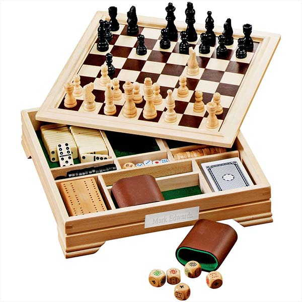 Handmade 7-In-1 Wooden Board Game Set with Optional Personalized Engraving