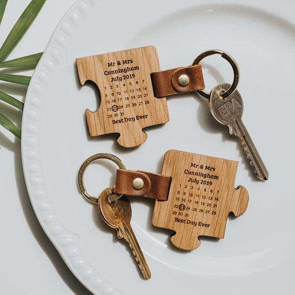 Handmade Jigsaw Personalized Calendar Keychain Set for Couples