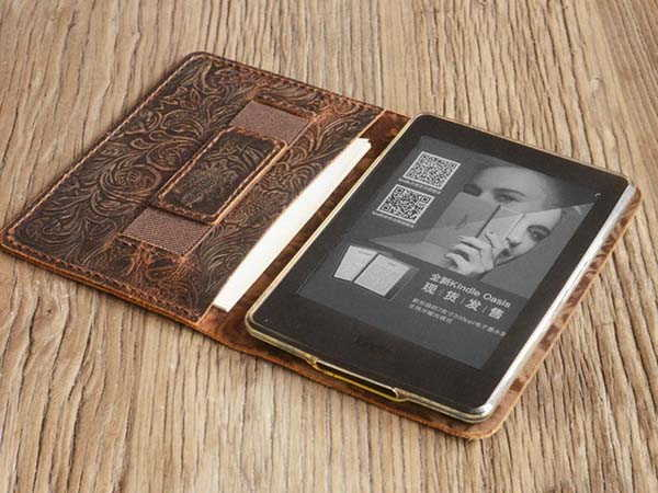 Handmade Kindle Paperwhite Leather Cover with Hand Strap
