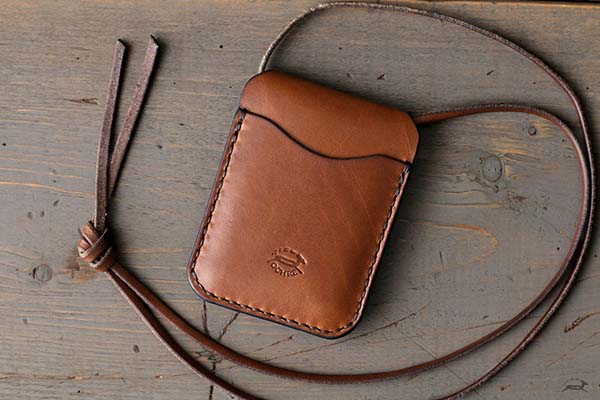 Handmade Leather Card Wallet with Optional  Lanyard and Optional Personalization