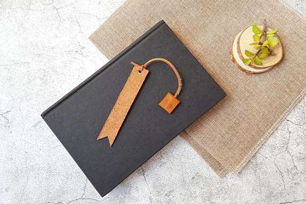 Handmade Personalized Leather Bookmark with a Square Tag