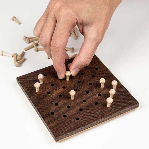 Handmade Wooden Hi-Q Solitaire Game
