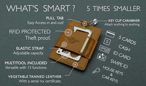 Harmattan Design Smart Leather Wallet with Included Multitool and Carabiner