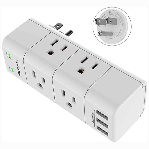Poweriver Portable Surge Protector with 6 Outlets and 3 USB Ports