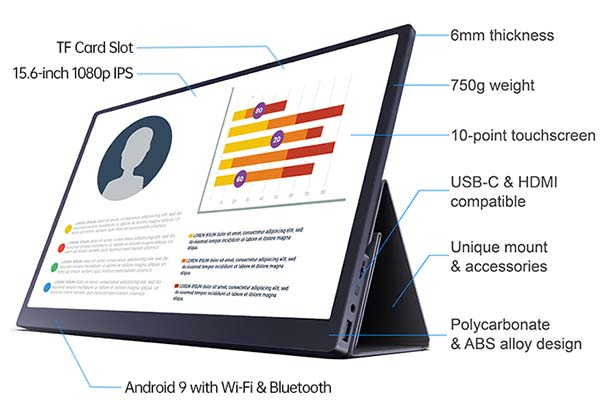 C-Smart Portable Touch Screen Monitor Powered by Android OS