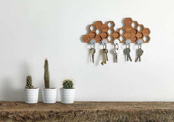 Handmade Honeycomb Magnetic Key Holder