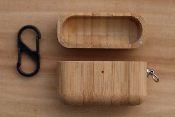 Handmade Personalized Wooden AirPods Pro Case with Carabiner