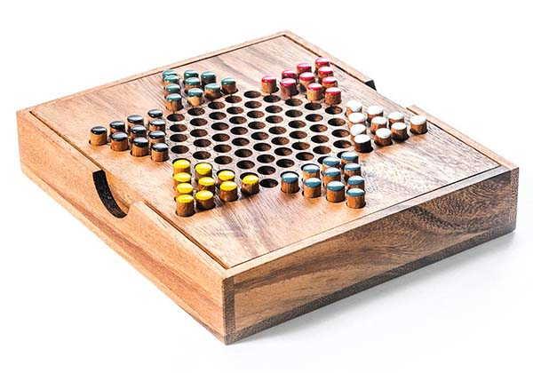 Handmade Wooden Chinese Checkers Set