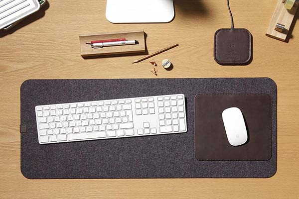 Handmade Wool Felt Desk Mat with Leather Mouse Pad