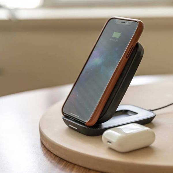 Mophie Wireless Charging Stand with Ultrasuede Finish