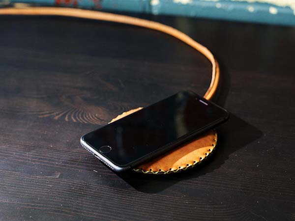 PowerWave Handmade Leather Wireless Charging Pad by Olpr