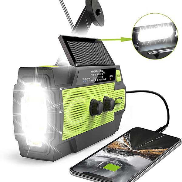 RunningSnail MD-090P Solar Hand Crank Radio with Power Bank, LED Flashlight and More