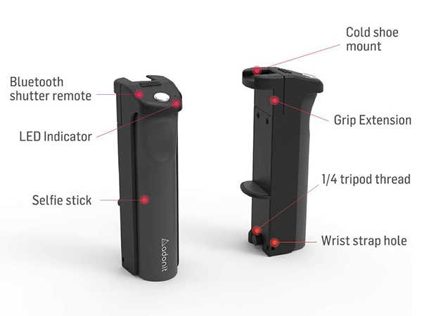 Adonit V-Grip 7-In-1 Phone Grip with Bluetooth Selfie Stick, Cold Shoe Mount and More